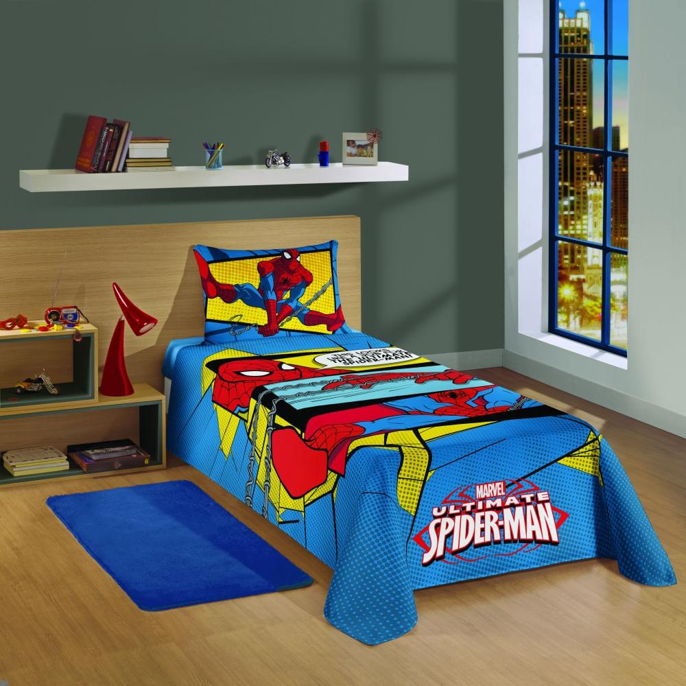 jogo de cama infantil lepper 3 peças spider man ultimate