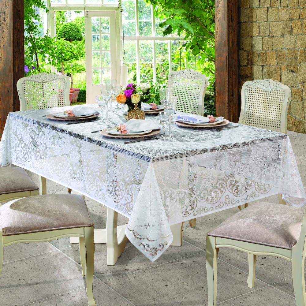 toalha de mesa lepper retangular renda rosas