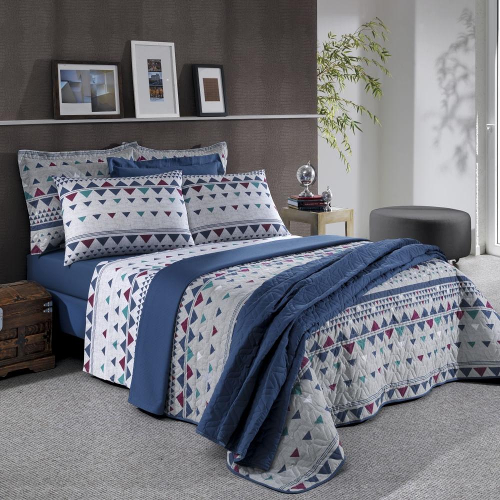 jogo de cama king santista prata 150 fios 100% algodão viny