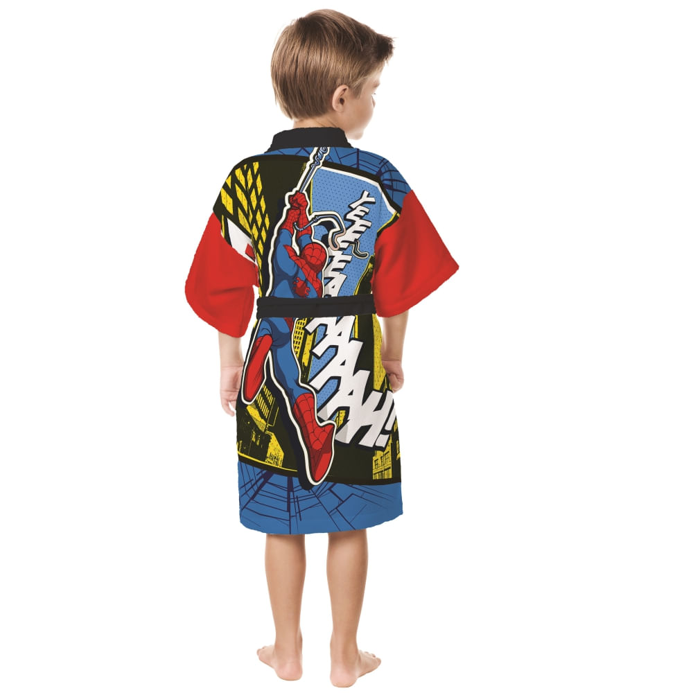 roupão infantil lepper aveludado quimono transfer bordado spider man ultimate M
