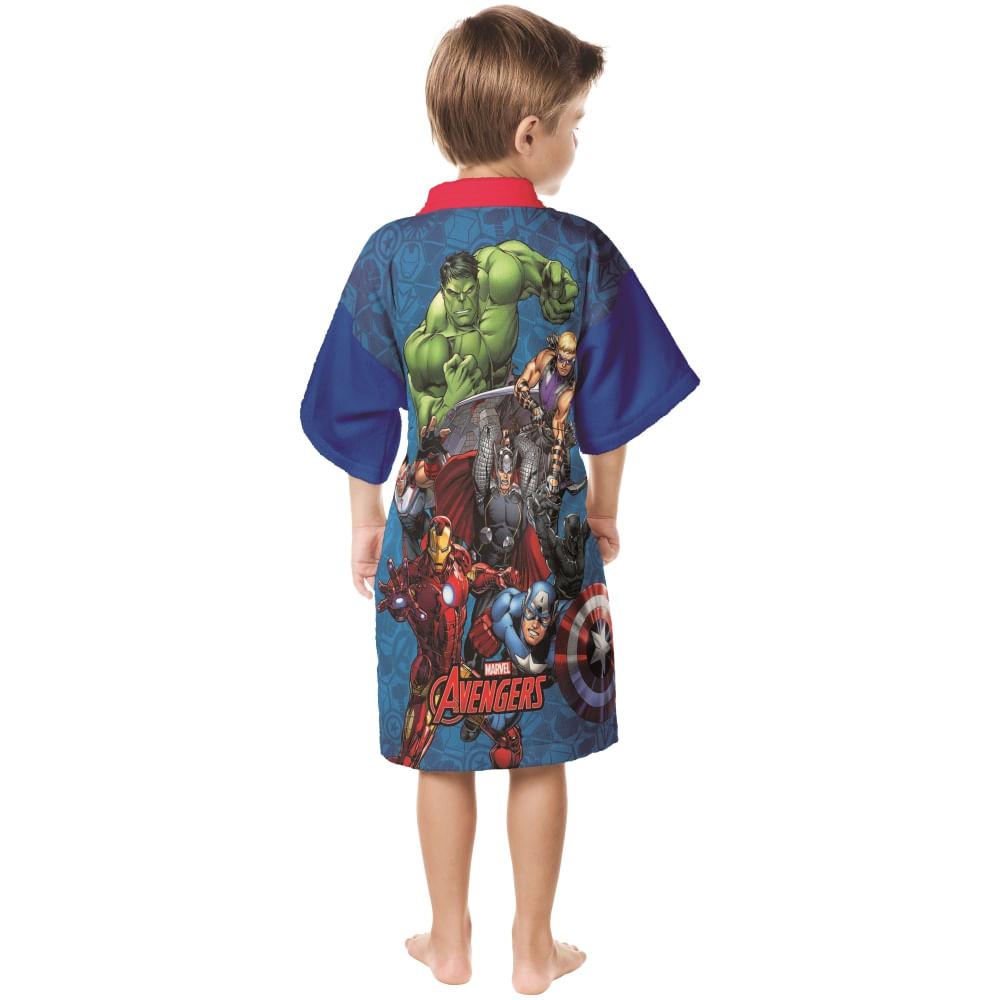 roupão infantil lepper aveludado quimono transfer bordado avengers M