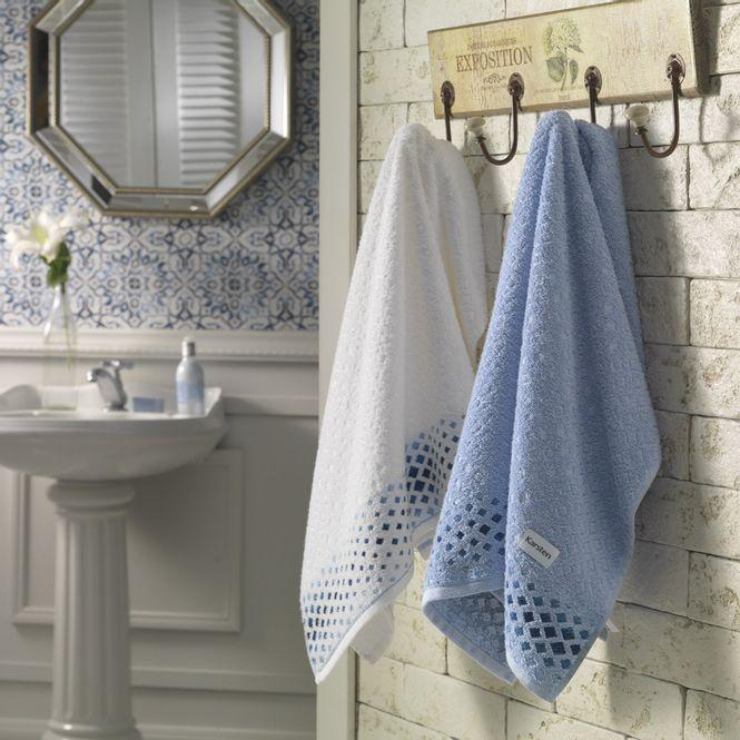 bd87b9f08 jogo de toalhas de banho karsten 5 peças allegra brim branco e azul  hortência