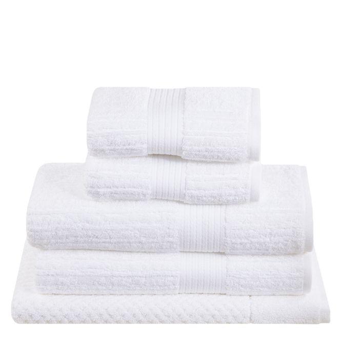 jogo toalhas banho buddemeyer 5p fio penteado branco