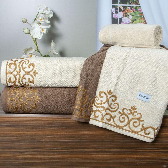 c5f97aba7 jogo de toalhas de banho karsten 5 peças allegra veridian bege e castanho