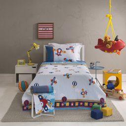 jogo de cama infantil santista 3 peças 100% algodão aviões