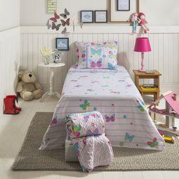 637e4b9f8c jogo de cama infantil santista 3 peças 100% algodão borboletas