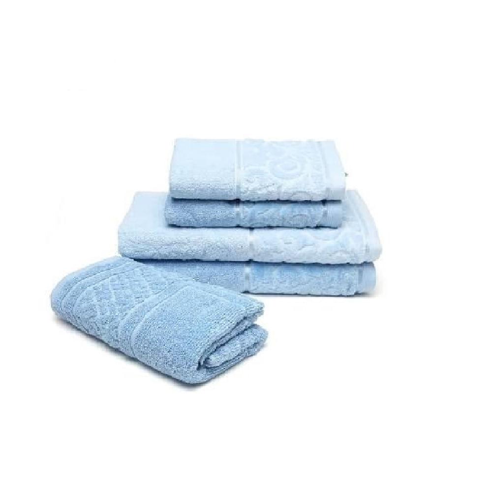 c10cc97d2 jogo de toalhas de banho santista 5 peças unique anette azul