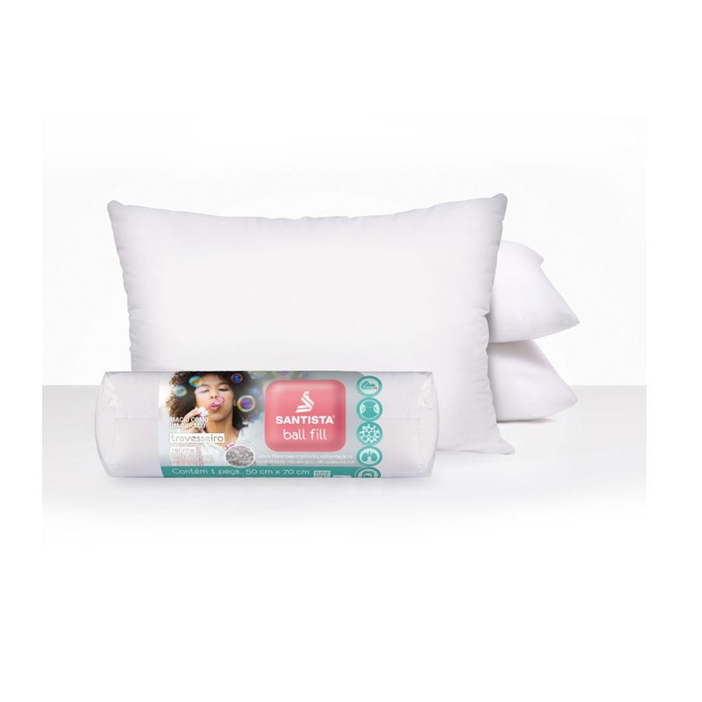 travesseiro 50 x 70 cm santista 100% algodão ball fill
