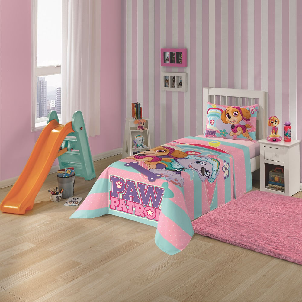 67cdbf0b3 jogo de cama infantil lepper 3 peças patrulha canina menina