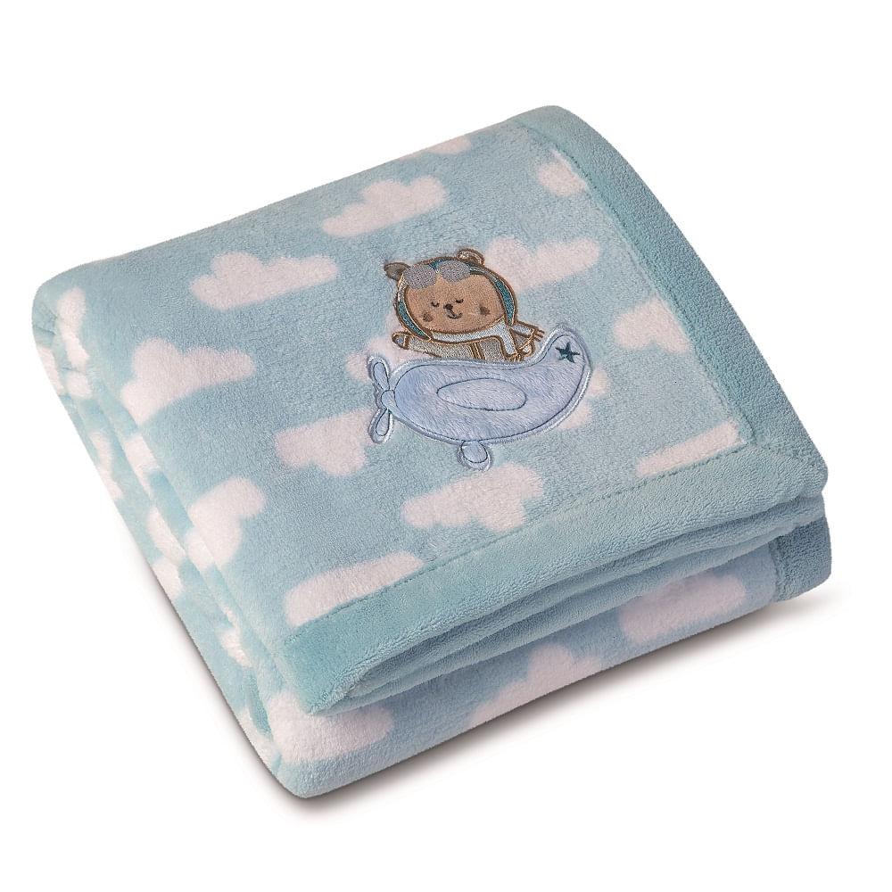 d2278ebaf1 manta bebê lepper fleece bordada estampada mini azul