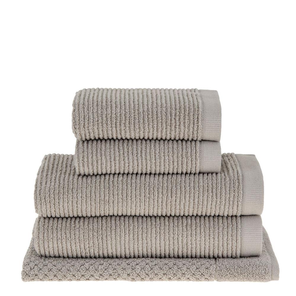 683230bed5 jogo de toalhas de banho buddemeyer 5 peças dual rib cinza