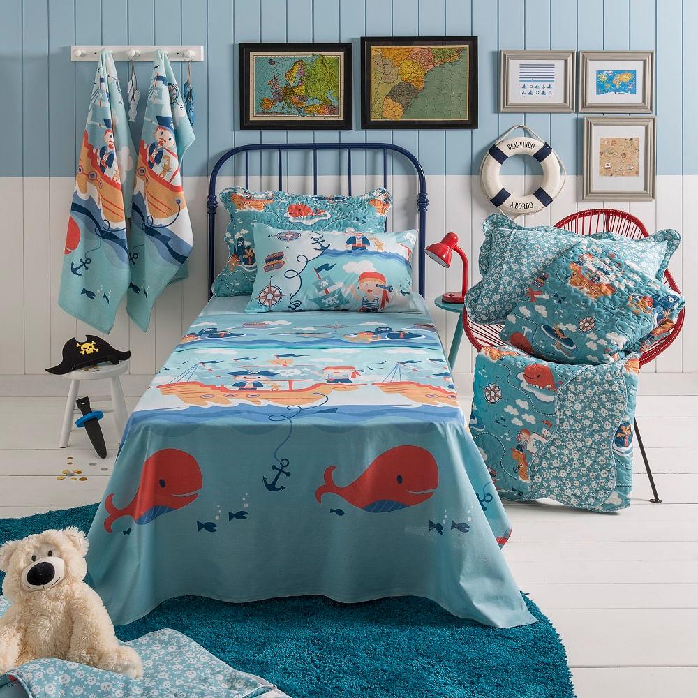 jogo de cama infantil santista 3 peças 100% algodão pirata
