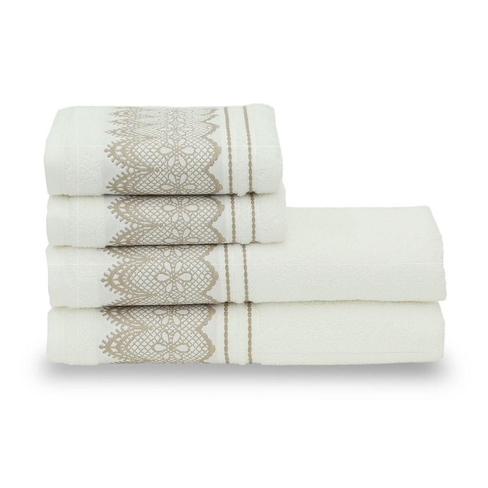 jogo de toalhas de banho santista 4 peças platinum blanc branco 0001