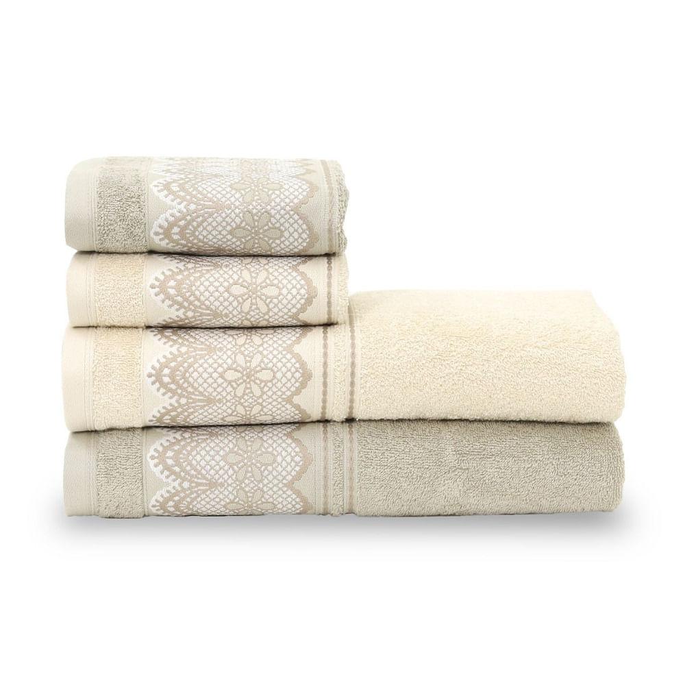 jogo de toalhas de banho santista 4 peças platinum blanc kaki 8894