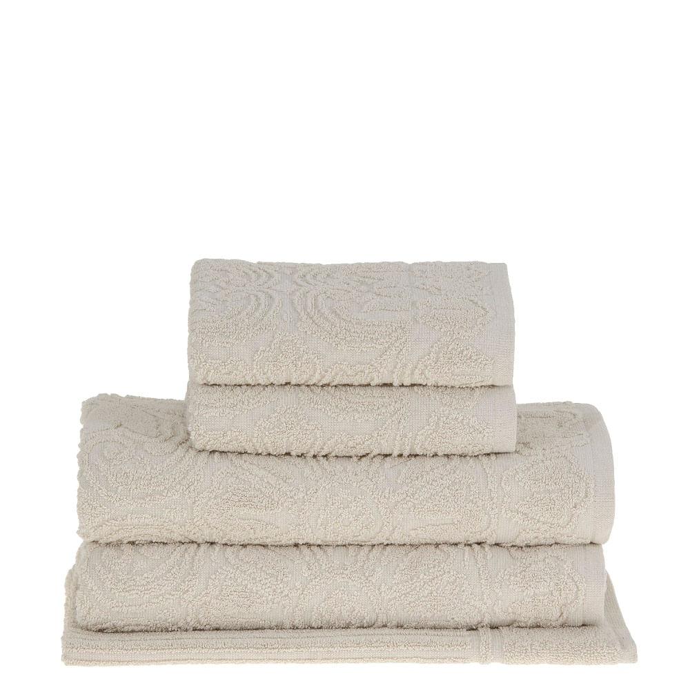 jogo de toalhas de banho buddemeyer 5 peças florentina bege