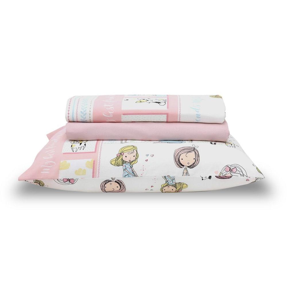 jogo de cama infantil santista 3 peças 100% algodão friends