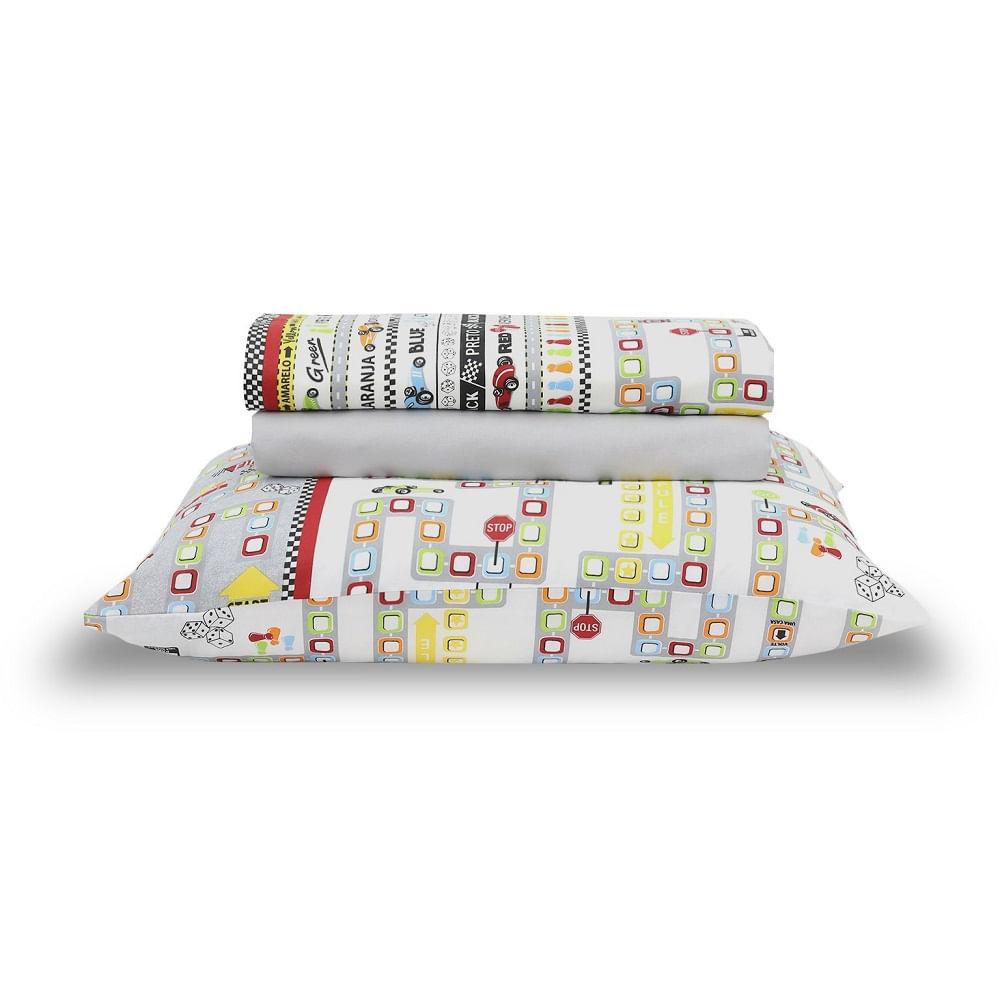 jogo de cama infantil santista 3 peças 100% algodão game 1