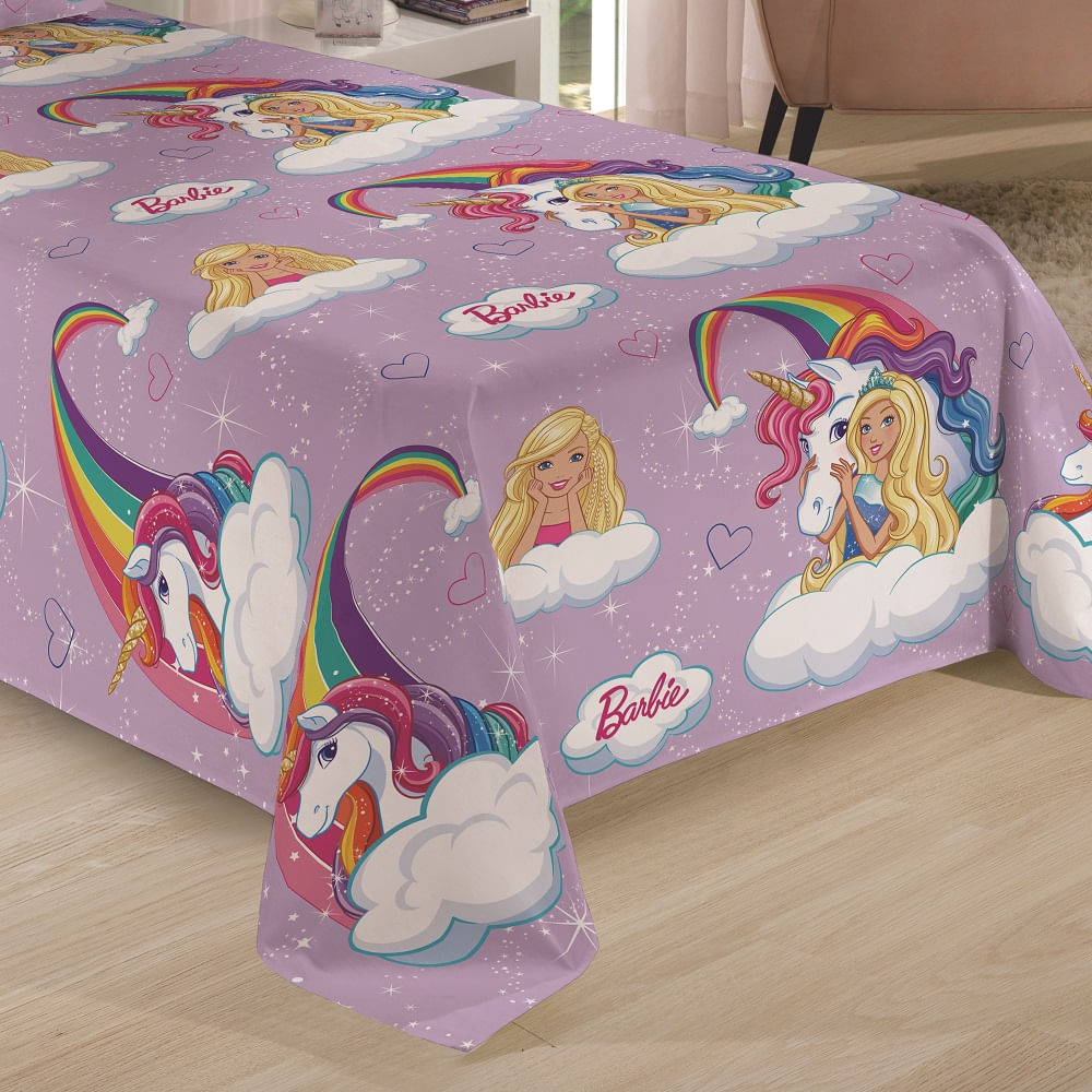 jogo de cama infantil lepper 2 peças barbie reinos mágicos