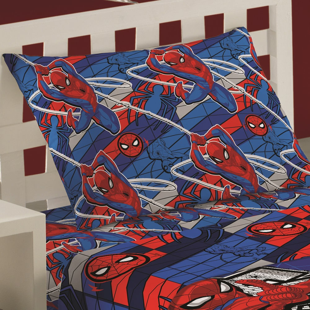 jogo de cama infantil lepper 3 peças microfibra spider man