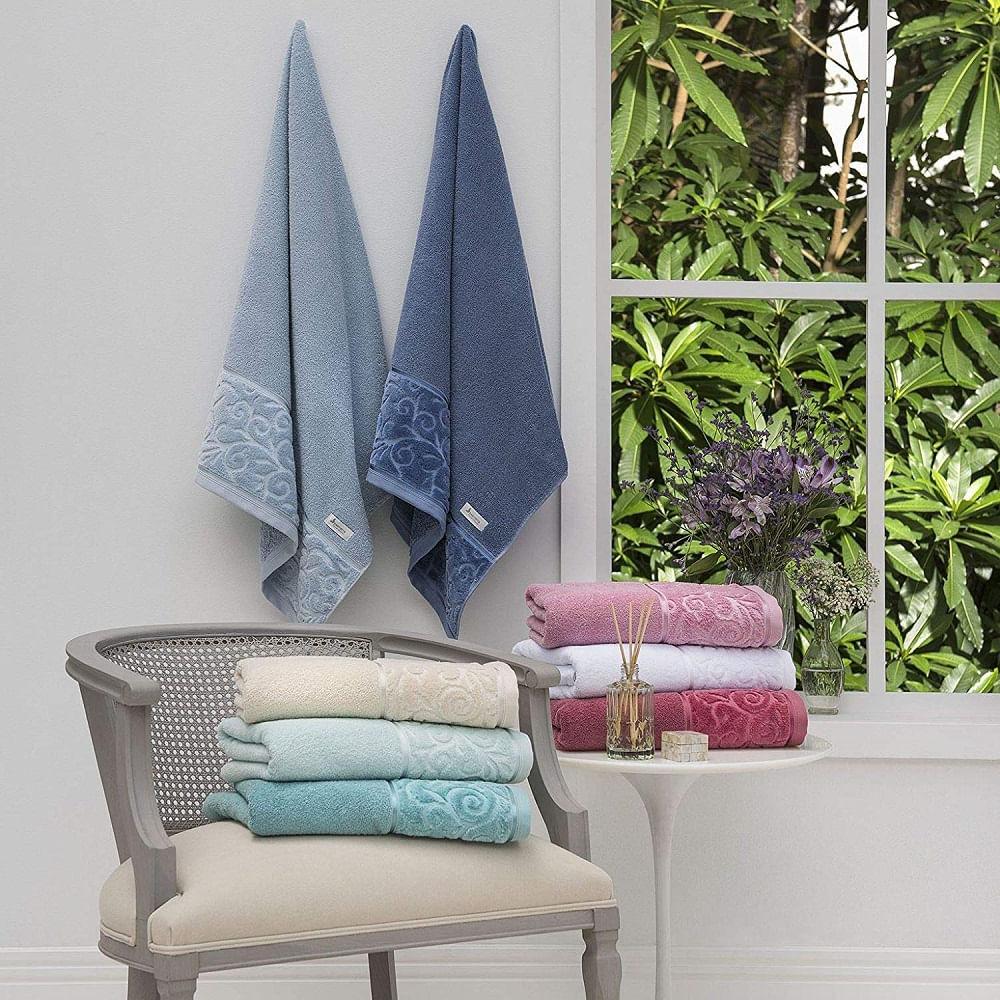 jogo de toalhas de banho santista 4 peças unique anette turquesa