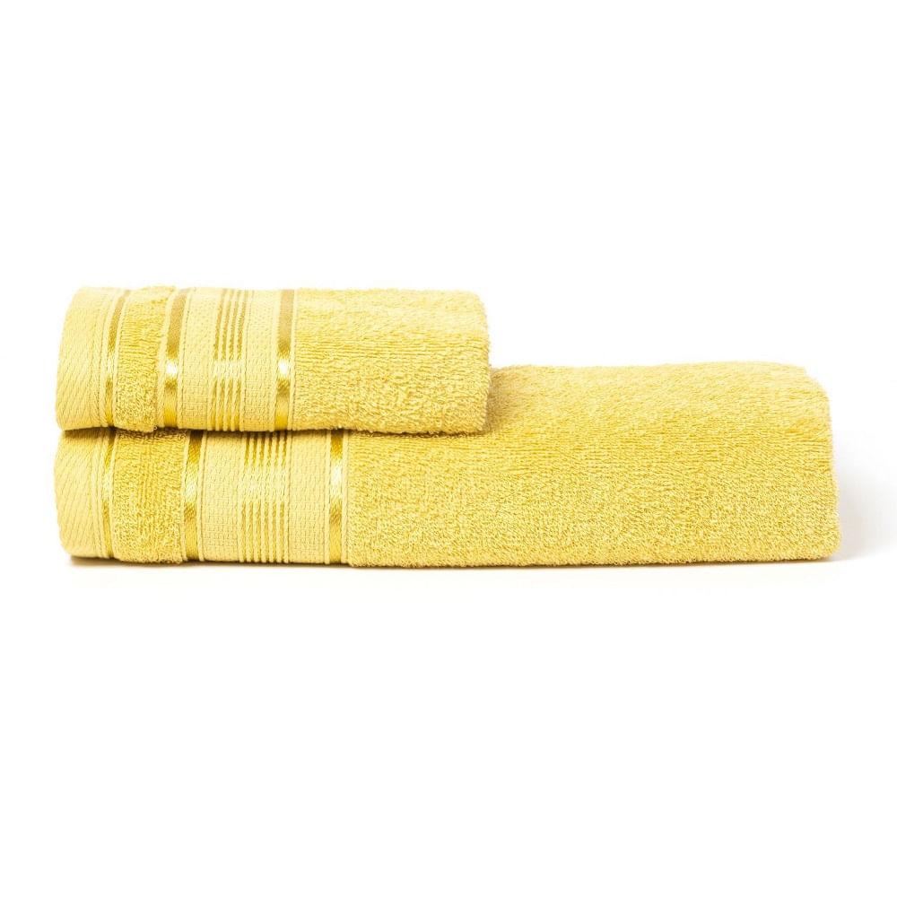 jogo de toalhas de banho santista 2 peças royal knut mostarda 2030