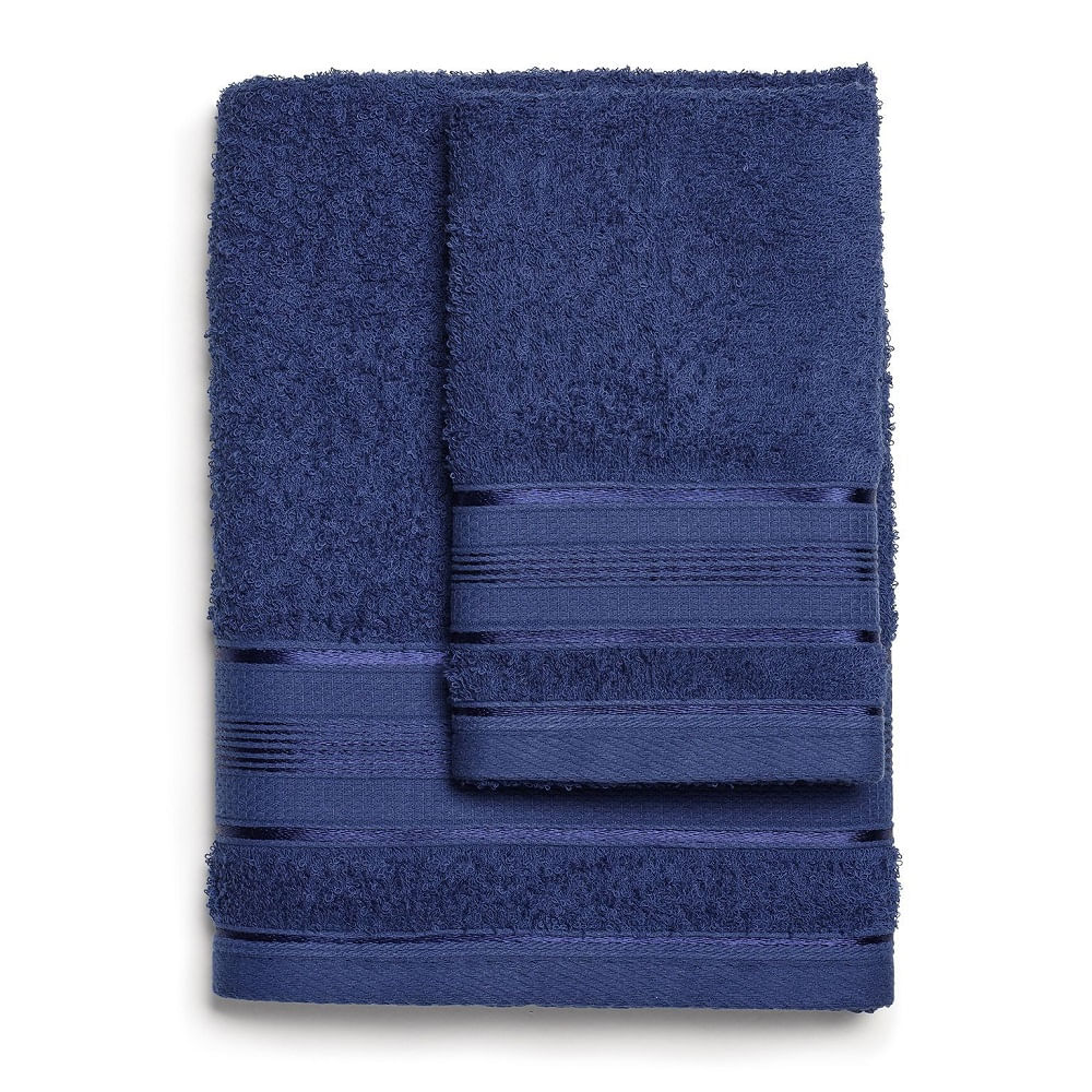 jogo de toalhas de banho santista 2 peças royal knut marinho 6657