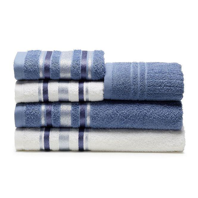 jogo de toalhas de banho santista 5 peças prata serena branco índigo