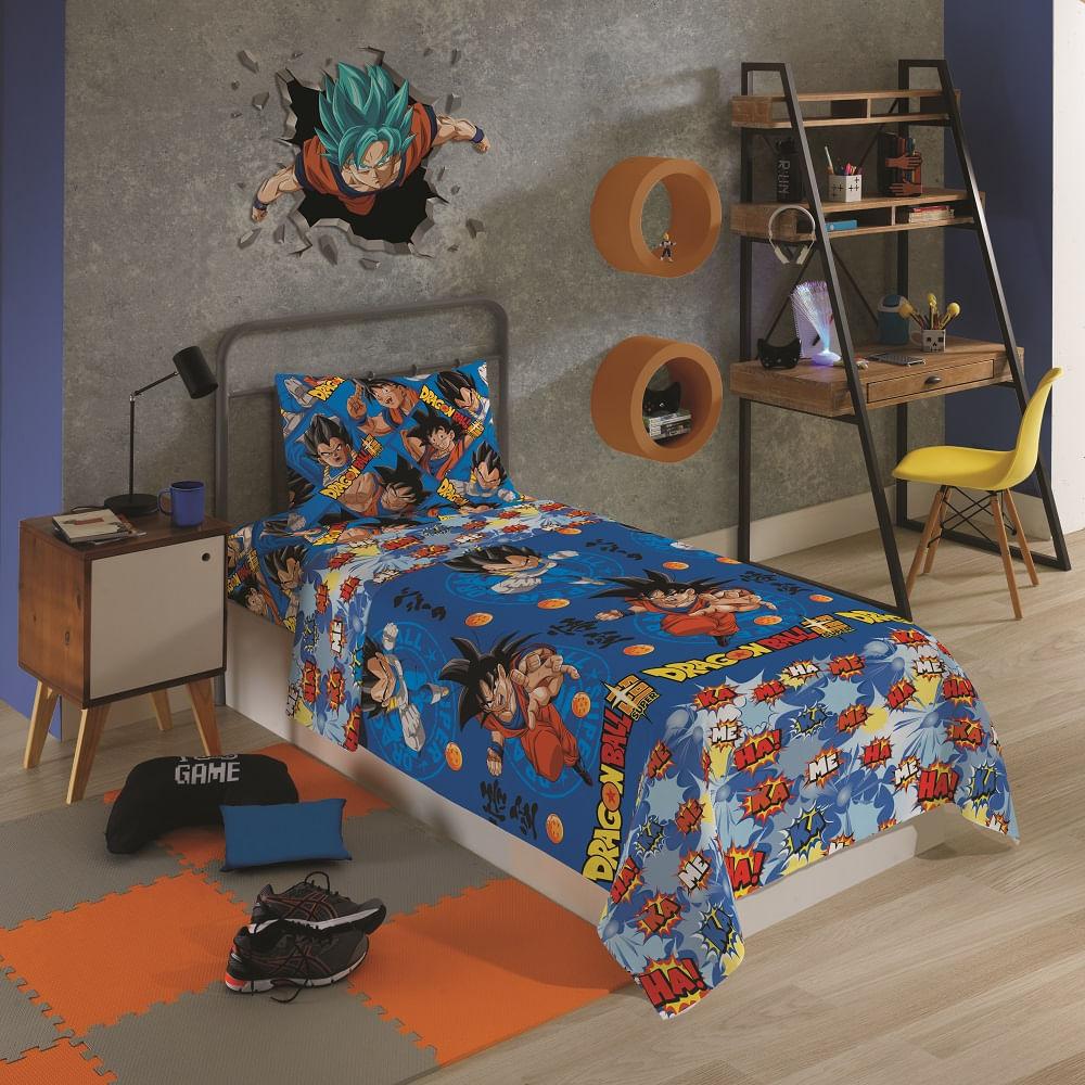 jogo de cama infantil lepper 3 peças microfibra dragon ball