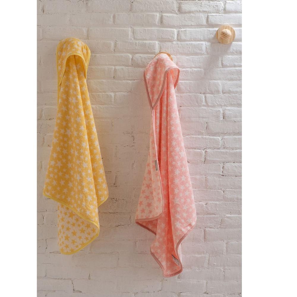 toalha infantil artex estampada com capuz estrela pêssego