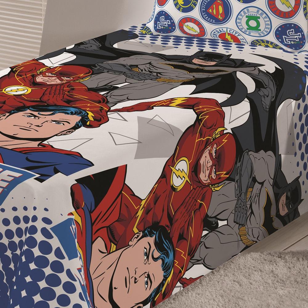 jogo de cama infantil lepper 3 peças microfibra liga da justiça