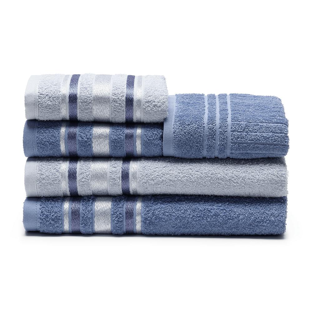 jogo de toalhas de banho santista 5 peças prata serena indigo