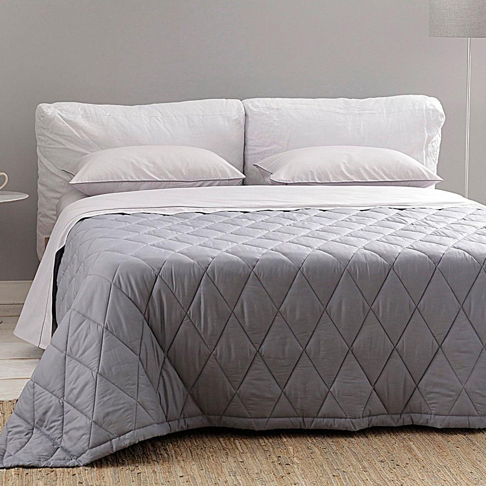 jogo de cama casal buddemeyer 180 fios 100% algodão basic percalle cinza