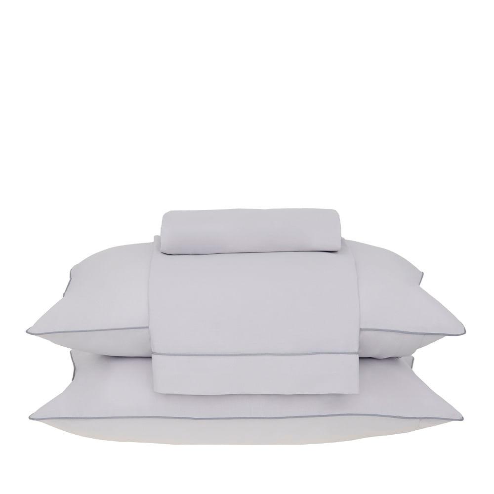 jogo de cama queen buddemeyer 180 fios 100% algodão basic percalle cinza
