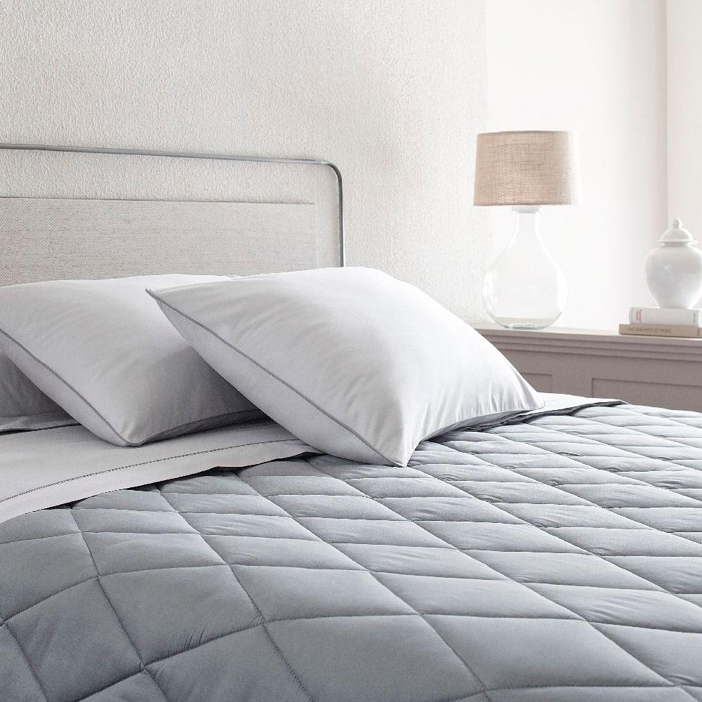 jogo de cama king buddemeyer 180 fios 100% algodão basic percalle cinza