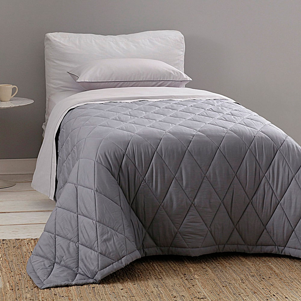 jogo de cama solteiro buddemeyer 180 fios 100% algodão basic percalle cinza