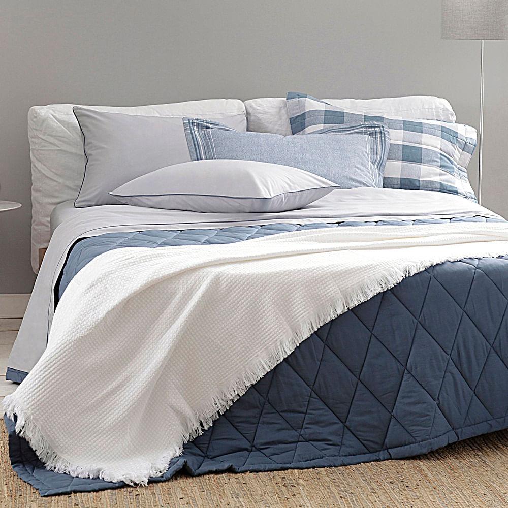jogo de cama casal buddemeyer 180 fios 100% algodão basic percalle azul
