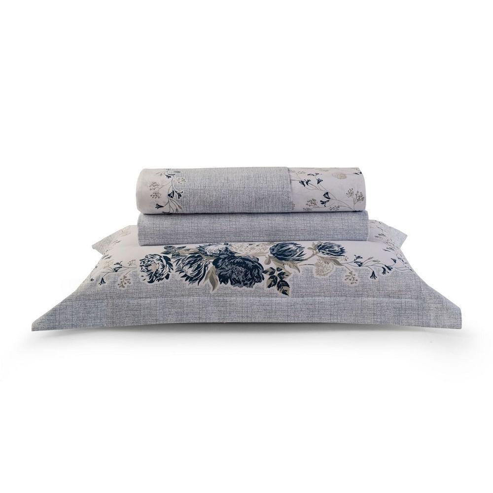 jogo de cama solteiro artex 180 fios 100% algodão dobra feita alessa