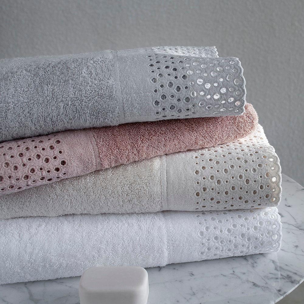 jogo de toalhas de banho buddemeyer 2 peças com renda princess branco
