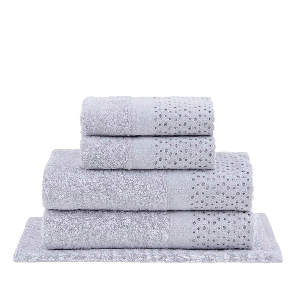 jogo de toalhas de banho buddemeyer 5 peças com renda princess cinza
