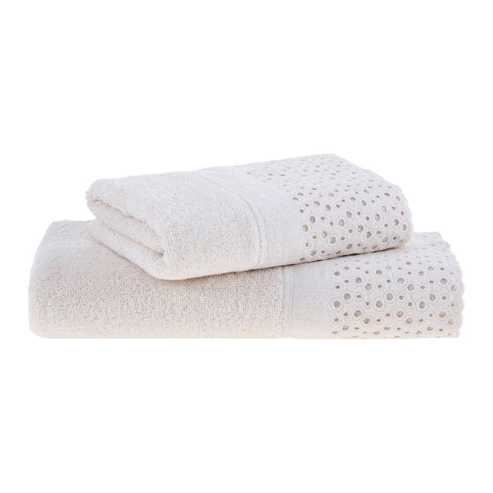 jogo de toalhas de banho buddemeyer 2 peças com renda princess bege