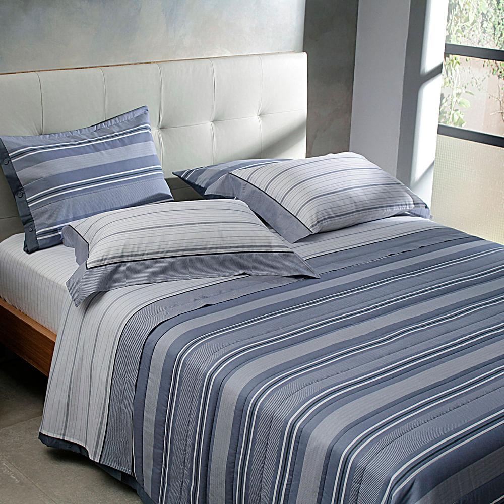 jogo de cama casal buddemeyer 180 fios 100% algodão percalle oxford azul