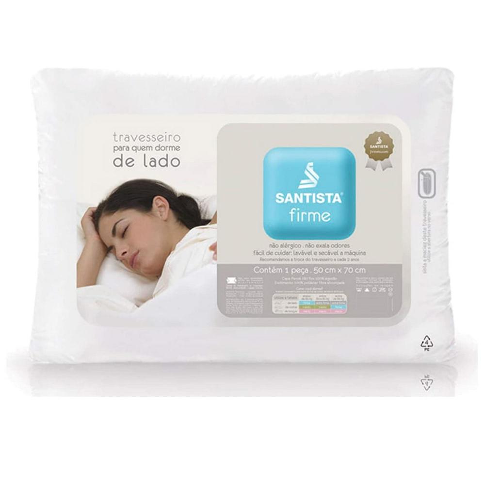 travesseiro 50 x 70 cm santista 100% algodão suporte firme premier bulk