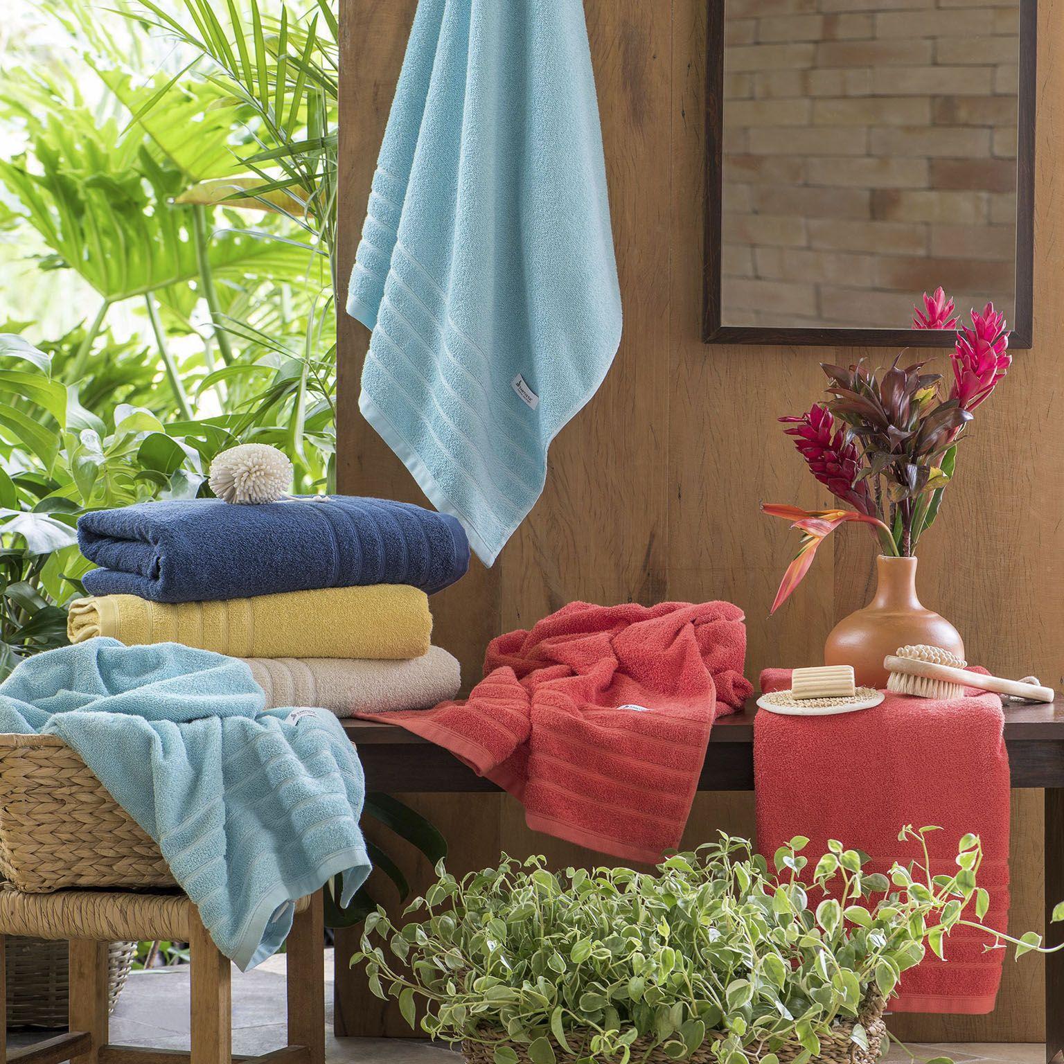 toalha de rosto santista 1 peça home design flint amarela
