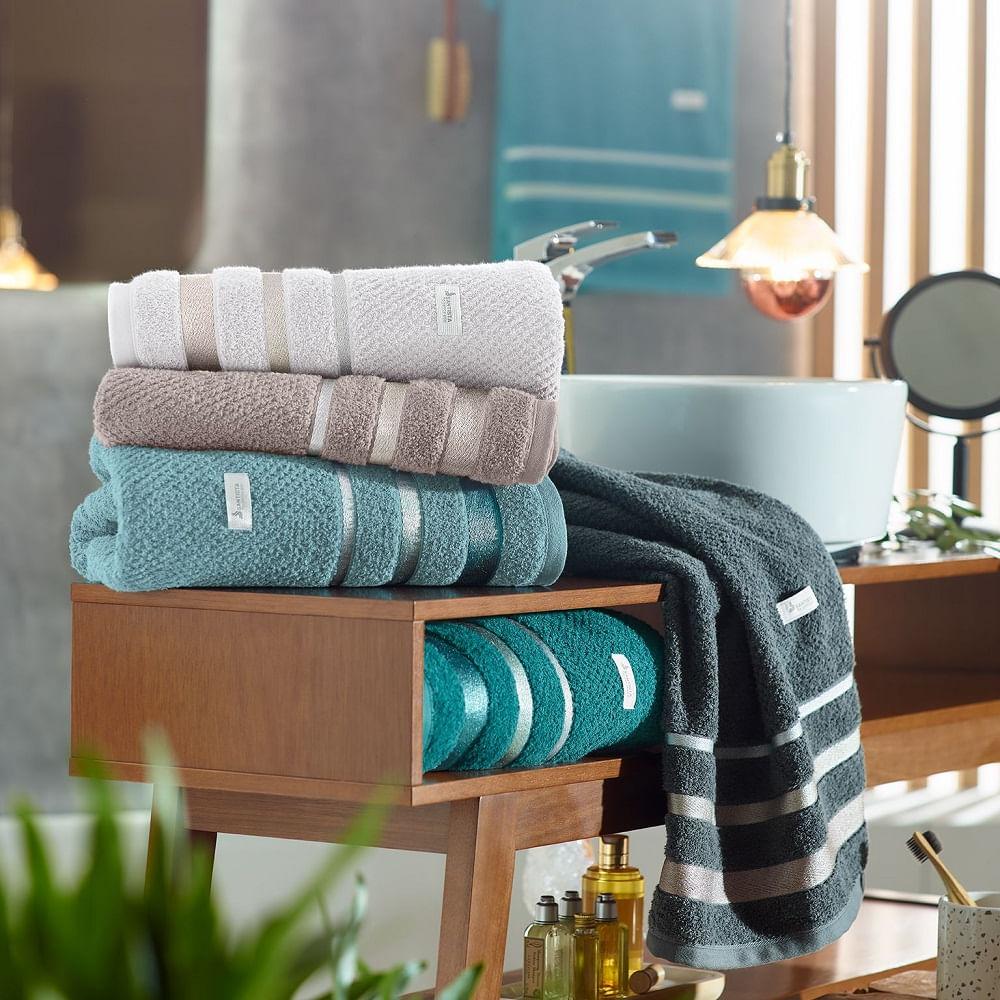 toalha de banho gigante santista 1 peça unique brook cinza