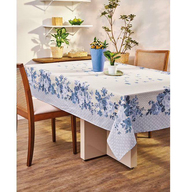 toalha de mesa lepper retangular super prática carol azul 6 lugares