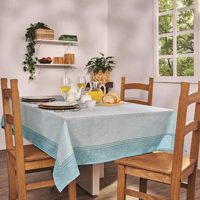 toalha de mesa lepper retangular super prática isa azul 6 lugares