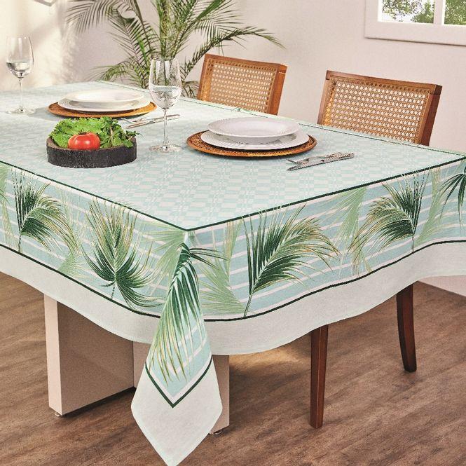 toalha de mesa lepper retangular super prática lu verde água 8 lugares