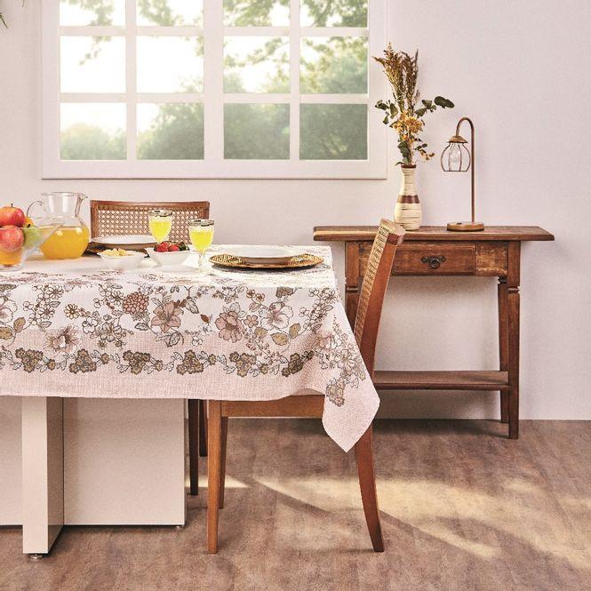 toalha mesa lepper retangular tati bege 8 lugares
