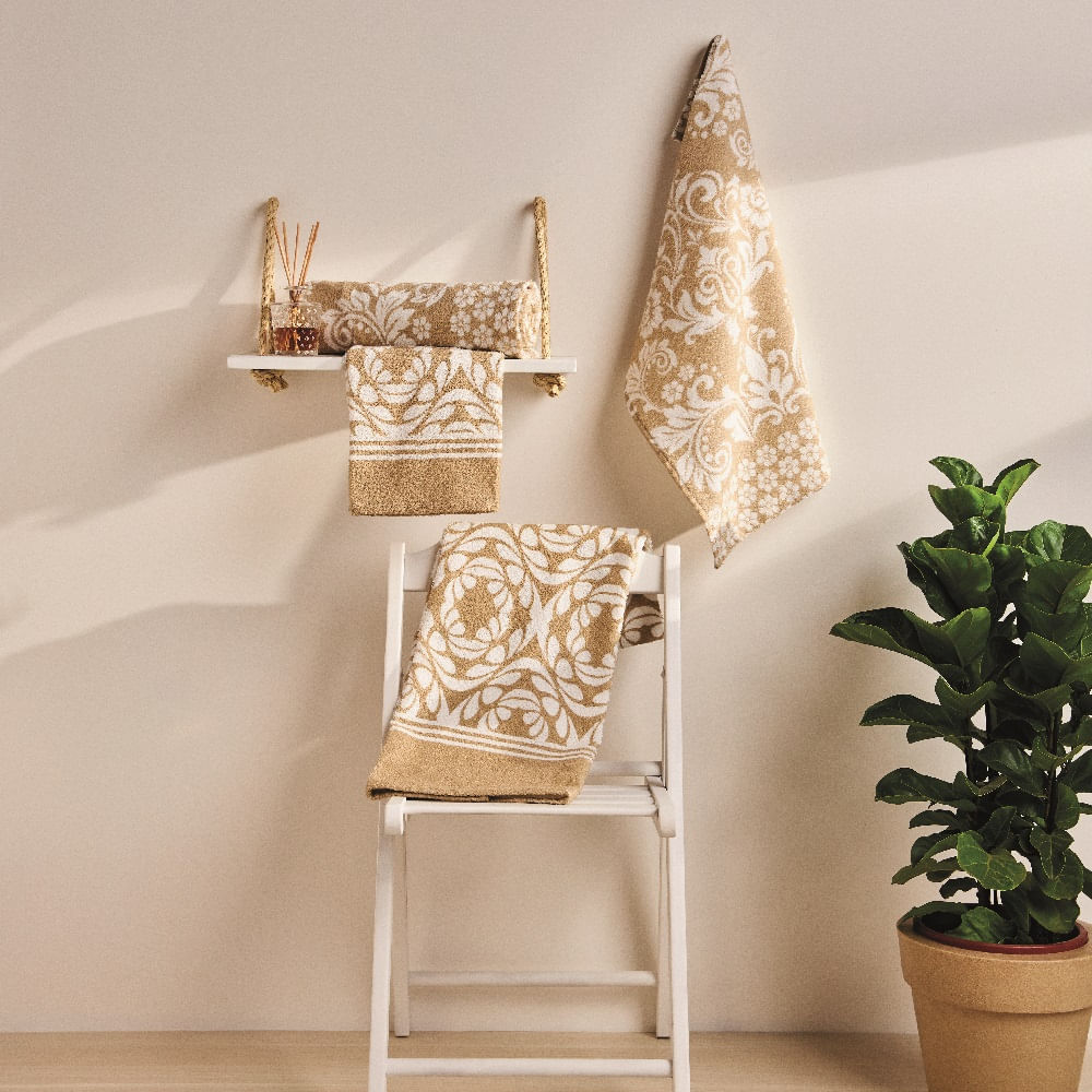 jogo de toalhas de banho lepper 4 peças estampado arabesco composê bege