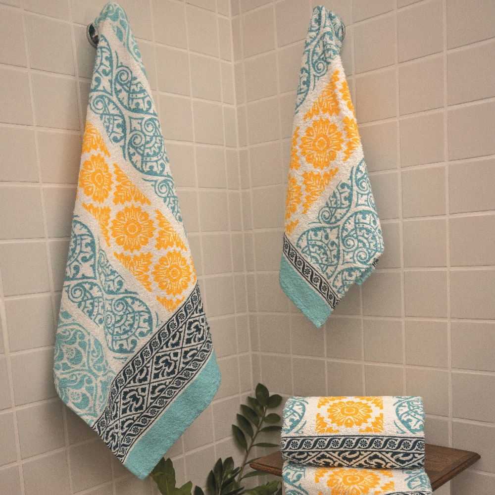 jogo de toalhas de banho lepper 4 peças estampado varanda azul turquesa